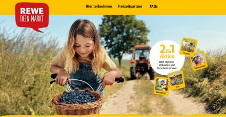 Screenshot der 2für1-Aktionsseite: REWE belohnt den Kauf regionaler Produkte (https://regional.rewe.de/2fuer1)