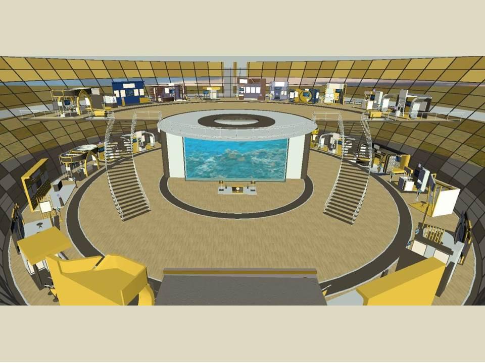 Bild: Blick in die virtuelle Messehalle – Die einzelnen Stände informieren wie eine Website über Leistungen, Produkte und Kompetenzen der Scholderer GmbH.