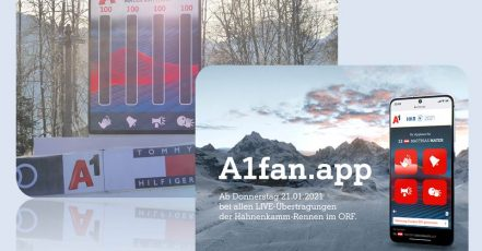 Bild: Vier Buttons, ein 5Gigameter – die A1fan.app sorgt für Stimmung bei den Hahnenkamm-Rennen 2021