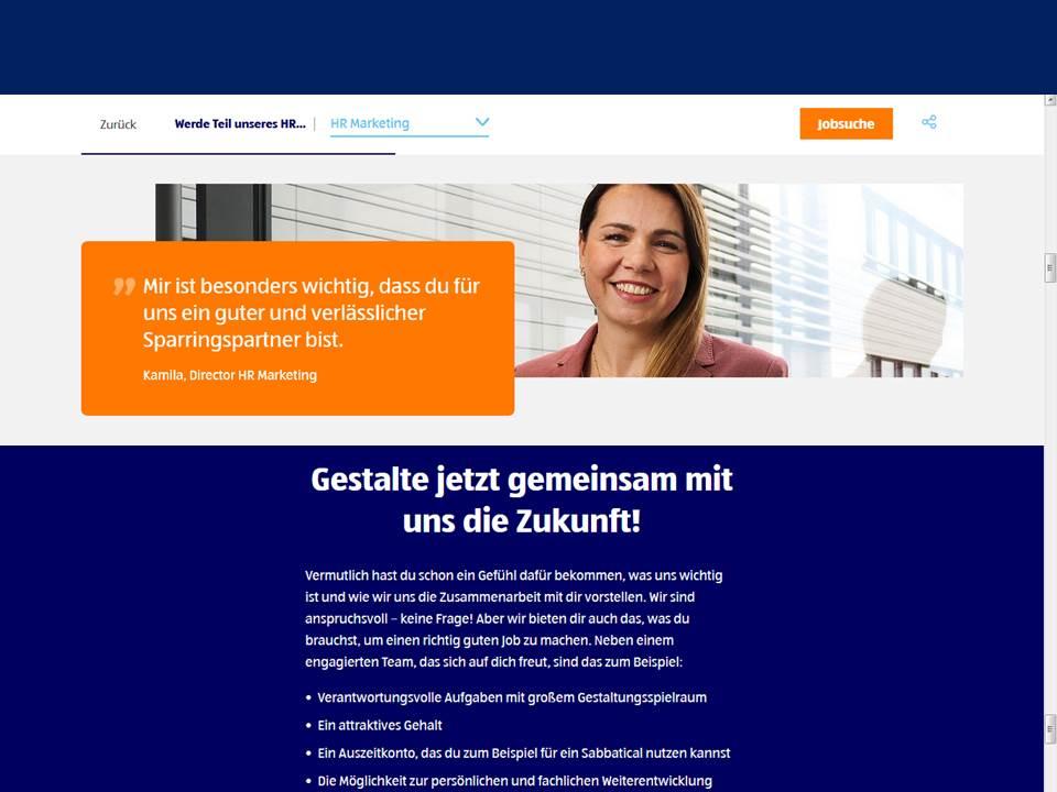 ALDI SÜD geht neue Wege im Recruiting. Screenshot: https://karriere.aldi-sued.de/hr-team_11.11.2019