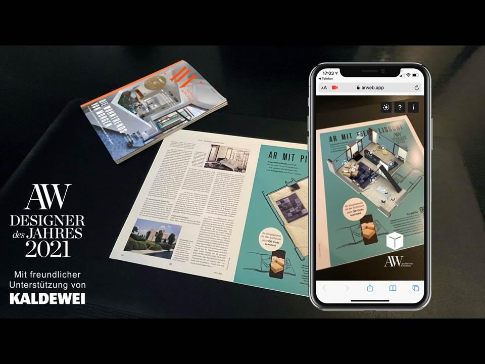 Bild: Virtuelle Ausstellung statt Live-Event - Die AW präsentiert in der Januar-Ausgabe eine AR-Ausstellung mit zehn Interieur-Objekten von Piero Lissoni