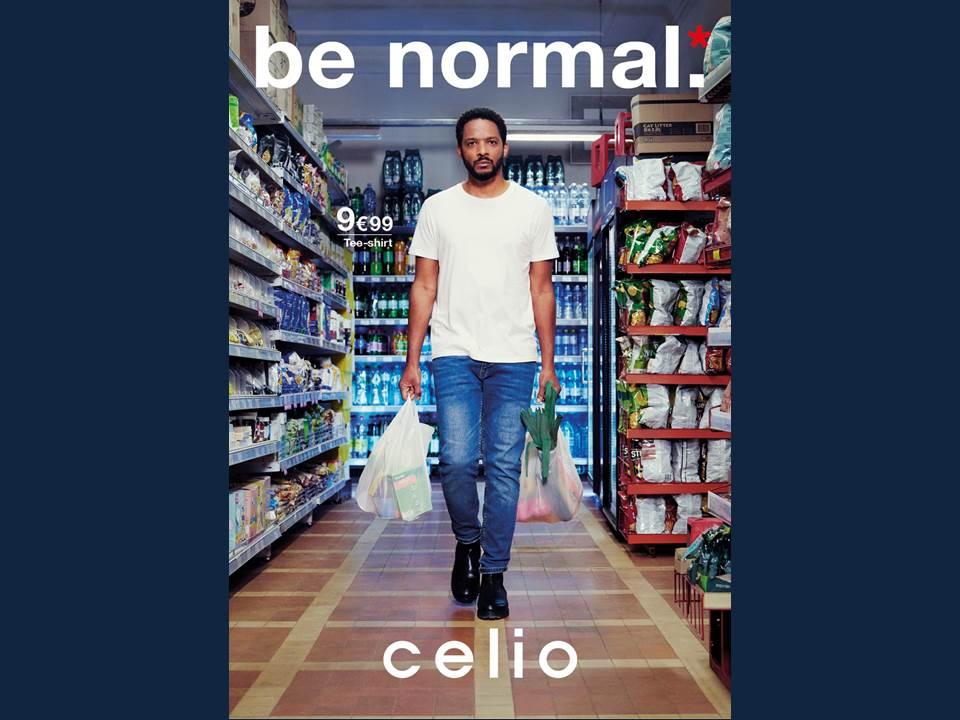 """Bild: Kampagnen-Motiv der """"Be normal""""-Kampagne 2021, kreiert von Buzzman für das Herren-Mode-Label celio"""