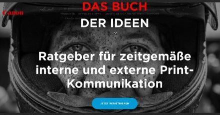 Screenshot: Microsite von Canon zum Buch der Ideen (https://www.canon.at/buchderideen/)