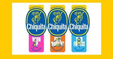 Bild: Die Chiquita Fitness-Sticker kleben ab Mitte Juli 2020 auf den Bananen. Insgesamt gibt es 12 Special Edition Motive.