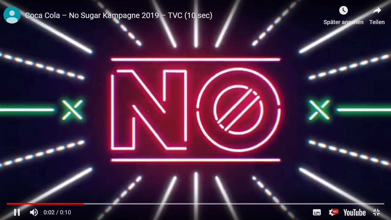 Screenshot: Coca Cola – No Sugar Kampagne 2019 – TVC (10 sec)