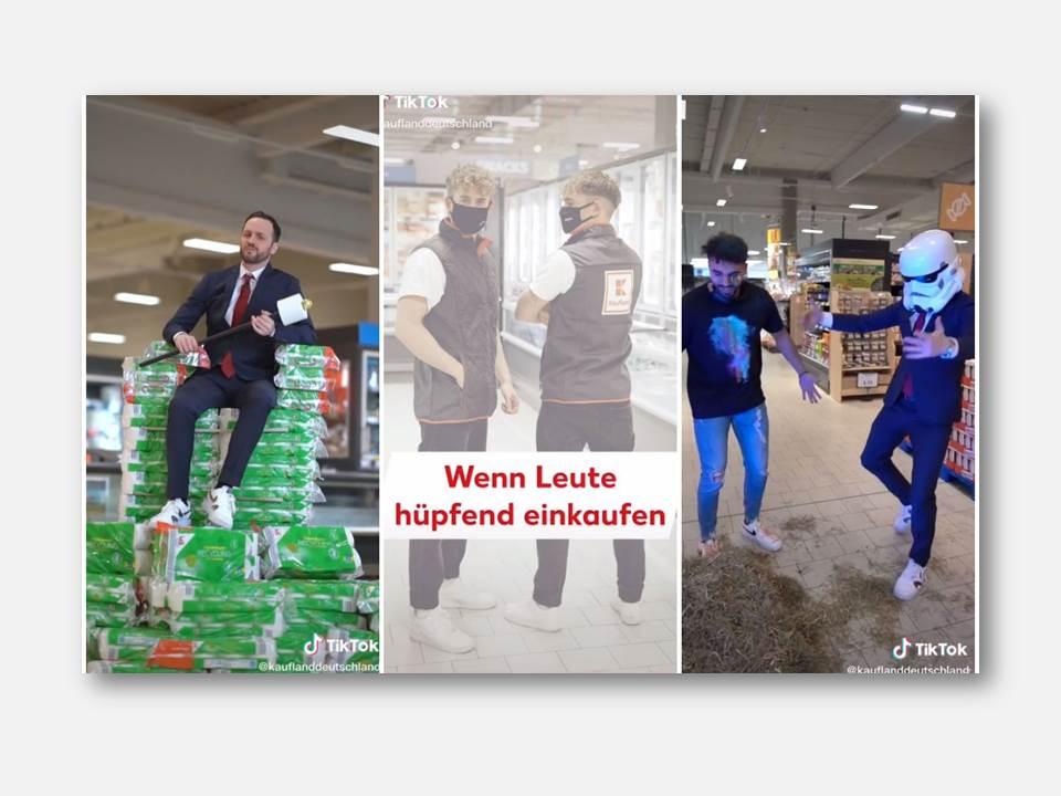 """Bild: Bei TikTok setzt Kaufland auf aufmerksamkeitsstarke Clips, Kampagnen und Kooperationen zum Beispiel mit """"Herr Anwalt"""", """"dscvr.twins"""" und """"Younes Zarou"""". (Foto: Kaufland)"""