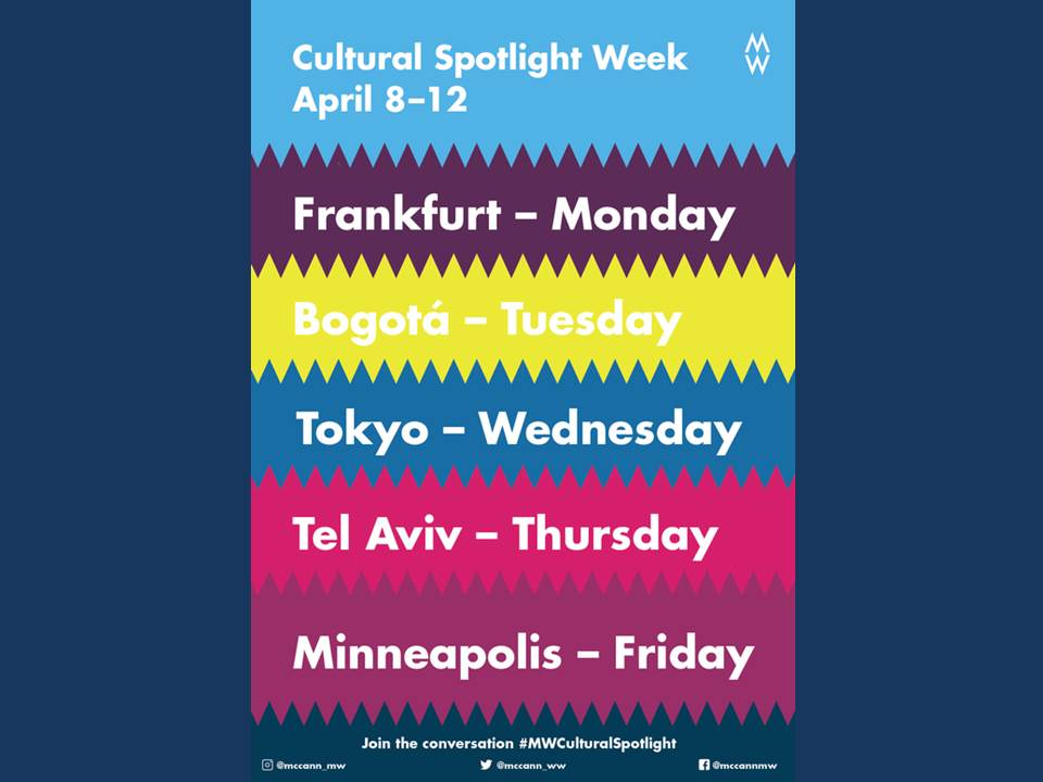 "Bild: ""Cultural Spotlight Week"", 08.-12. April 2019, McCann Worldgroup"