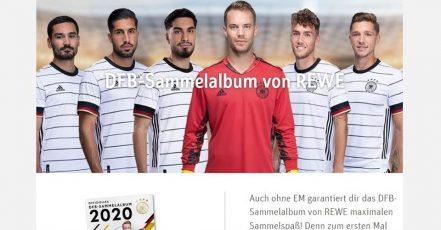 """Screenshot: Aktionsseite """"DFB Sammelalbum von REWE"""" (https://www.rewe.de/aktionen/dfb-sammelalbum"""