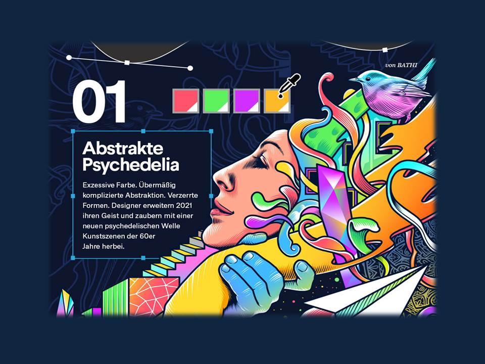 Bild: Designtrends 2021_99designs_Trend 1_Abstrakte Psychedelia