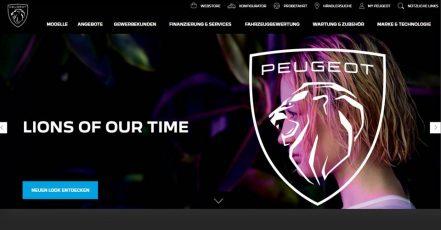 Bild: Die neue PEUGOT Website mit neuem Logo (https://www.peugeot.de/) / Screenshot v. 26.02.2021