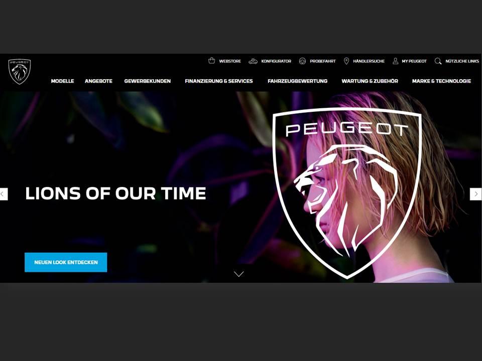 Bild: Die neue PEUGEOT Website mit neuem Logo (https://www.peugeot.de/) / Screenshot v. 26.02.2021