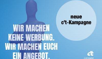 Bild: Die neue c't Kampagne ist gut skalierbar durch drei durchgängig einsetzbare Elemente (Quelle: Heise Gruppe / neuwaerts)