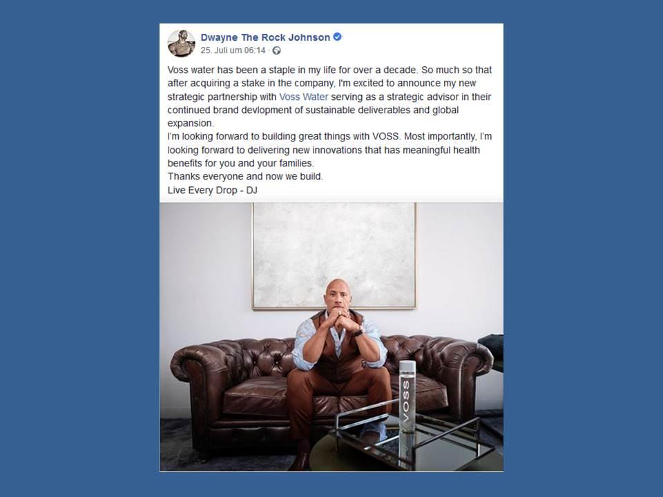 """Bild: Dwayne """"The Rock"""" Johnson postet die neue Partnerschaft auf Facebook"""