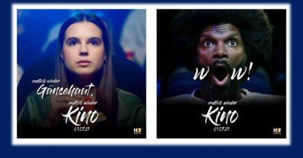 Bild: Kampagnenmotive der Kino-Restart-Kampagne des HDF KINO e.V. in Zusammenarbeit mit starken Partnern, wie Facebook, Ströer und anderen. (Copyrights / Quelle: HDF KINO)