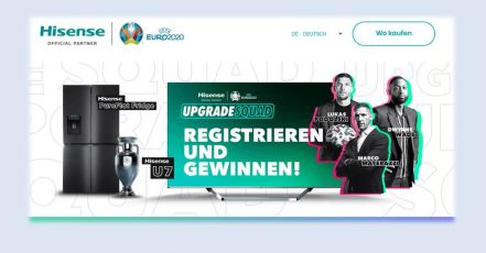 Bild: Screenshot der UEFA EURO Gewinnspiel-Website von Hisense