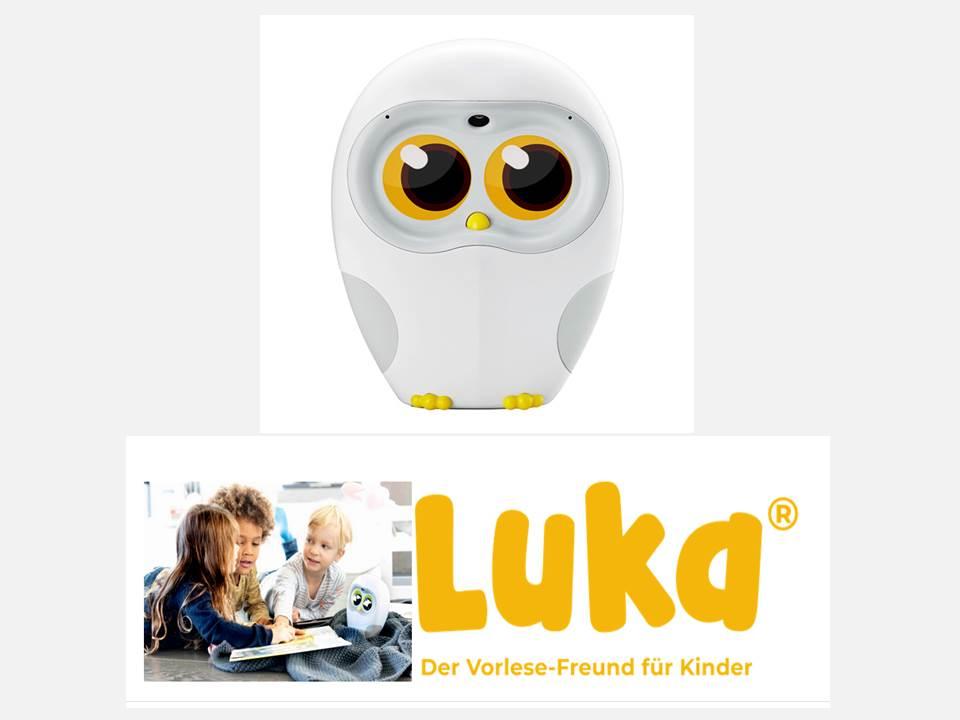 Bild: Der Vorlese-Roboter Luka® soll die Lesemotivation bei Kindern fördern.