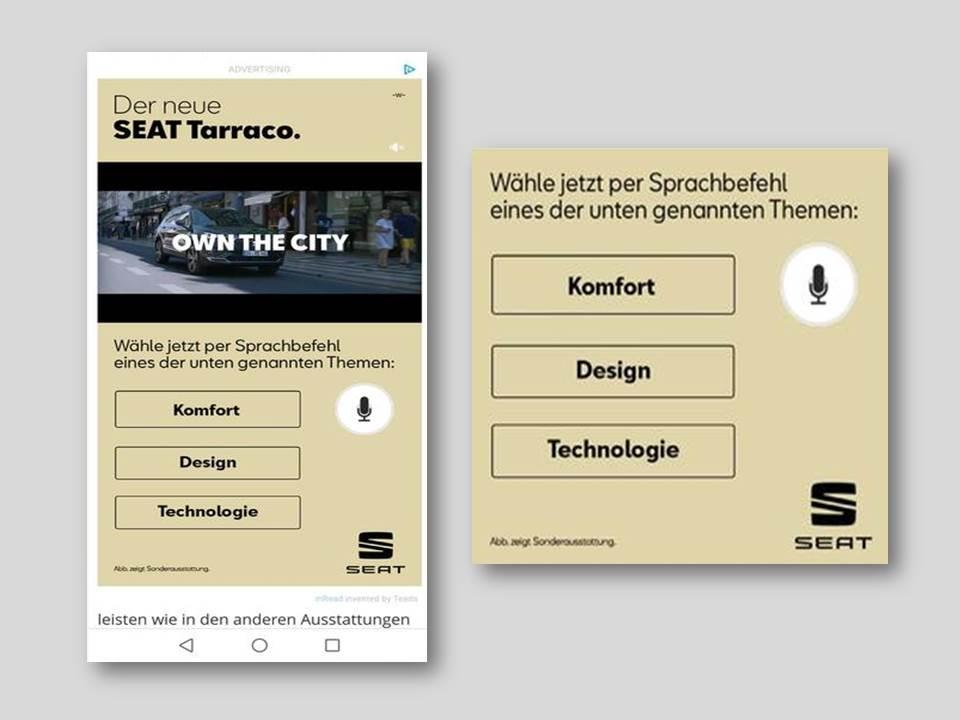 Abbildung: Interaktive Voice-Control Video Ad für Seat (Bildquelle: Teads)