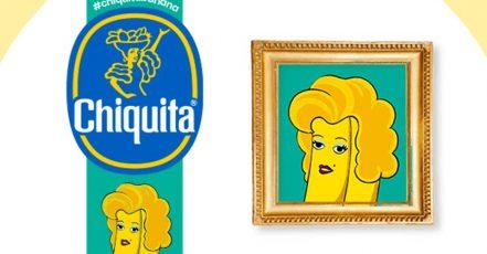 """Bild: Die bekannte Obstmarke Chiquita verziert ihre Bananen mit neuen Kunst-Stickern, hier die """"bananige"""" Neu-Interpretation von Andy Warhols Marilyn Monroe (Quelle: https://www.chiquita.de)"""