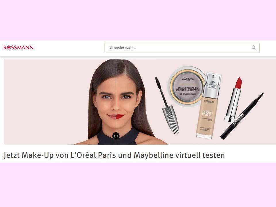 Screenshot: L'Oréal Augmented Reality Service auf Rossmann.de (Link: https://www.rossmann.de/de/neu/virtuell-make-up-testen) / 26.10.2020