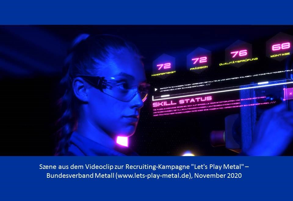 Screenshot: Let's Play Metal Kampagnen-Video, Bundesverband Metall (Quelle https://www.lets-play-metal.de/)