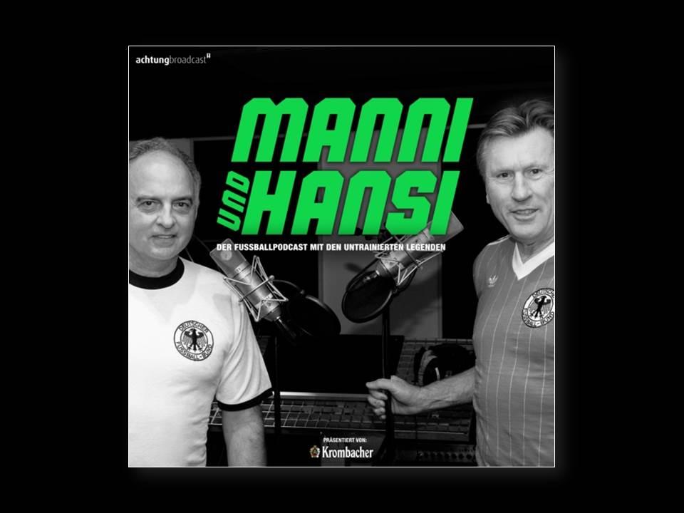"""Bild: """"Manni & Hansi – der ehrliche Fußballpodcast"""" zur EM 2020. (Quelle: achtung! Broadcast)"""