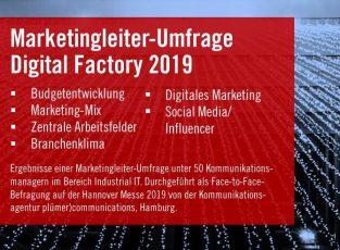 Marketingleiter-Umfrage Digital Factory 2019, plümer)communications  (Quelle: pluemercommunications.de)