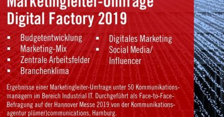 Marketingleiter-Umfrage Digital Factory 2019, plümer)communications (Quelle: pluemercommunications.de)