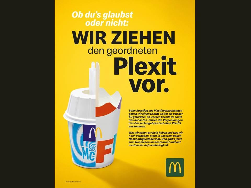 Anzeigenmotiv Plexit - McDonald's setzt auf weniger Plastik- und Verpackungsmüll und schafft erste Einwegplastik-Artikel ab Oktober ab. (Quelle: obs/McDonald's Deutschland)