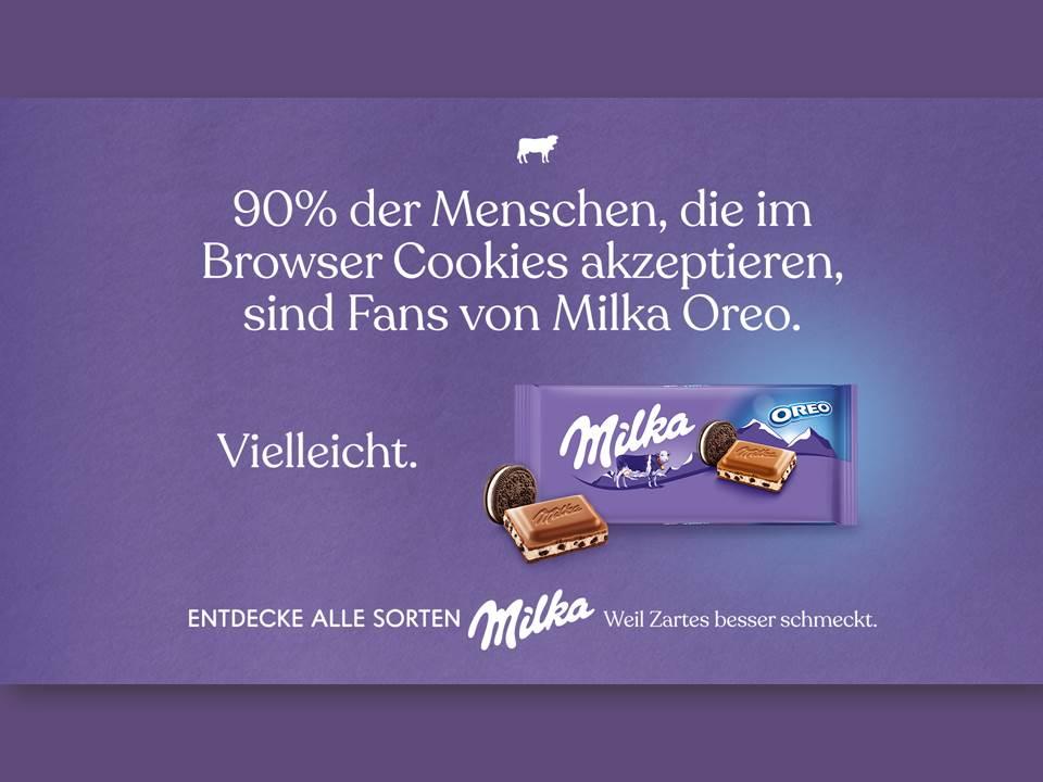 """Werbung mit Humor - Die neue Milka-Kampagne zieht u.a. Aufmerksamkeit durch nicht ganz ernst gemeinte """"Umfrage-Ergebnisse"""". Die Botschaft: Egal, was du magst – Hauptsache zart! (Copyrights: Mondelez Europe Services GmbH)"""