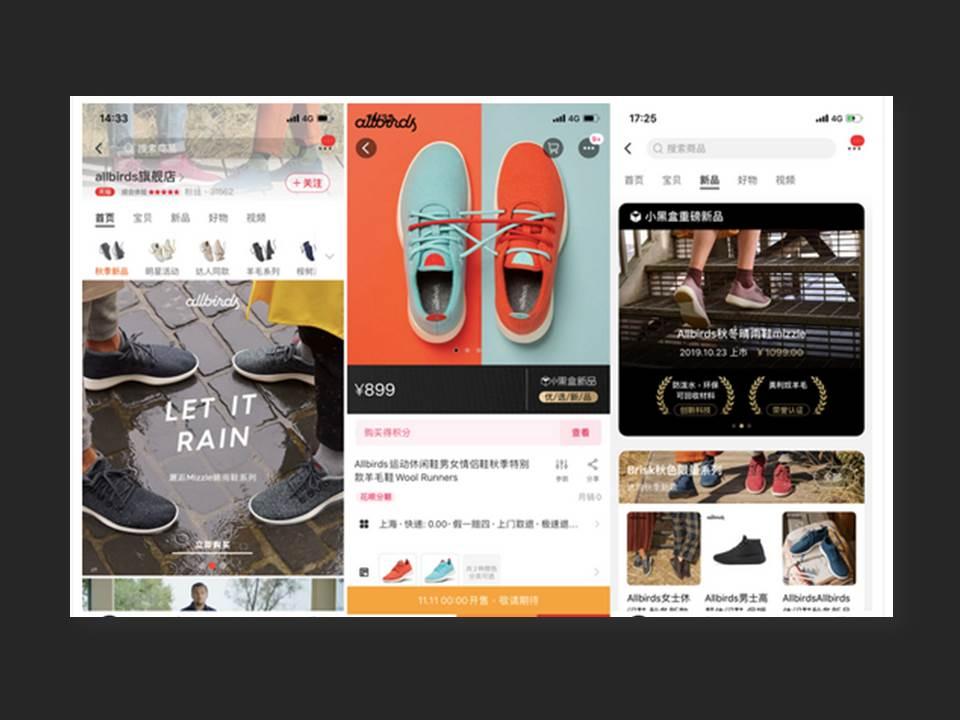 Screenshot: Mobile interface of Allbirds' Tmall flagship store. (Quelle: alizila.com)
