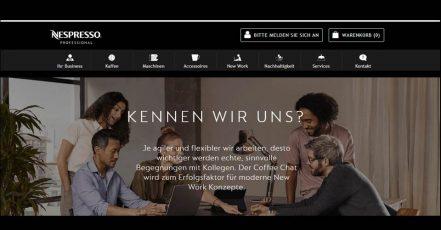 Screenshot: Nespresso Professional Website_Rubrik New Work