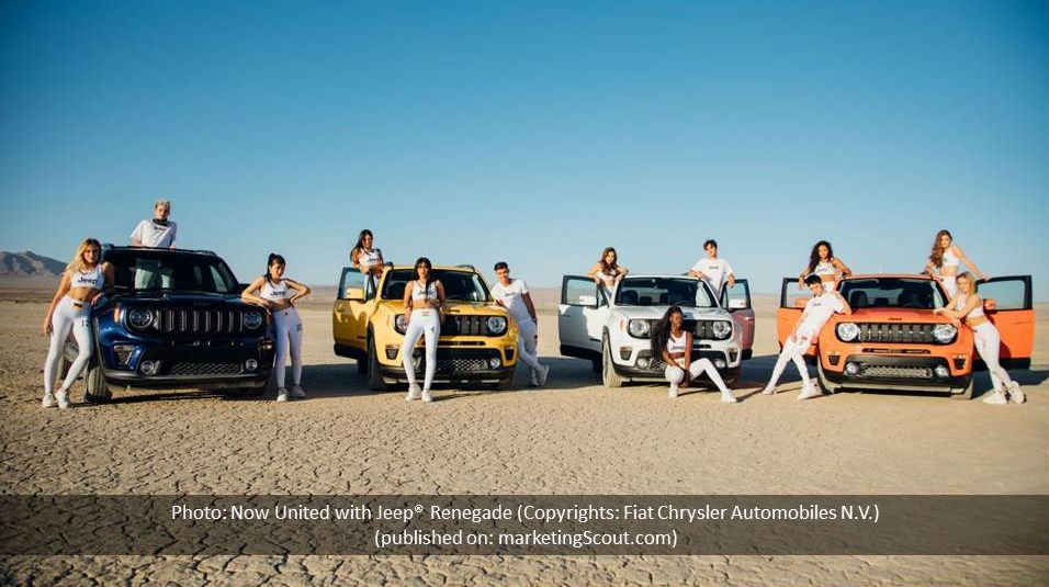 Foto: Now United mit Jeep® Renegade (Copyrights: Fiat Chrysler Automobiles N.V.)