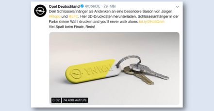 Bild: Opel 3D-Schlüsselanhänger auf Twitter (https://twitter.com/OpelDE)