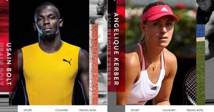 Usain Bolt und Angelique Kerber sind zwei der insgesamt neun internationalen Top-Athlet:innen, mit denen Peloton in den Sport-Sommer 2021 startet (Quelle / Copyrights: Peloton / www.onepeloton.de).