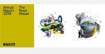 """Bild: Der Pirelli Geschäftsbericht 2019 enthält Illustrationen von Selman Hoşgör, darunter die Werke """"Widerstandsfähigkeit"""" (Mitte) und """"Nachhaltigkeit"""" (r.)."""