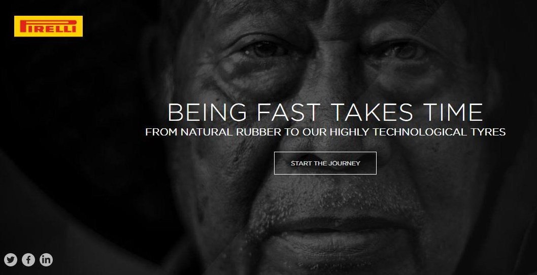 Screenshot: Pirelli Online-Plattform zum Thema Naturkautschuk https://naturalrubber.pirelli.com/en-ww/being-fast-takes-time 24.04.2019