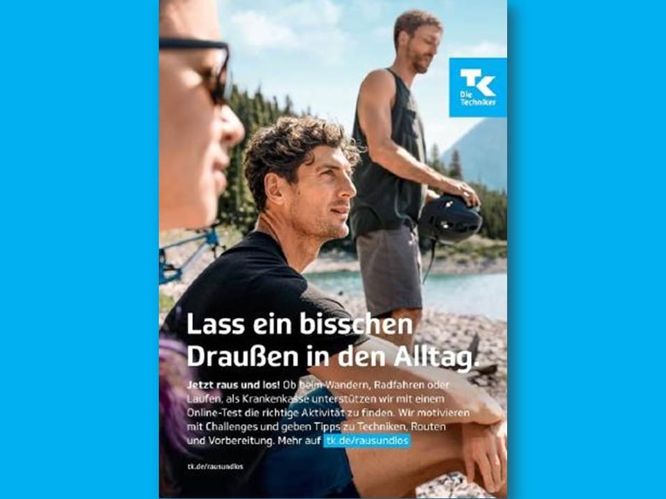 """Bild: """"Raus und los""""-Kampagne 2021 von der Techniker Krankenkasse (Copyrights: C3 Creative Code and Content GmbH)"""