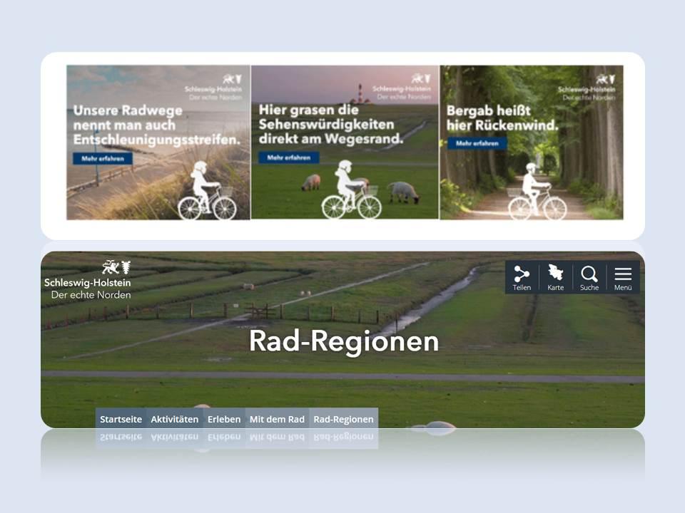 Bild: Schleswig-Holstein  Rad-Kampagne 2021 Digital_Collage aus den drei Online-Werbemotiven und der Landingpage
