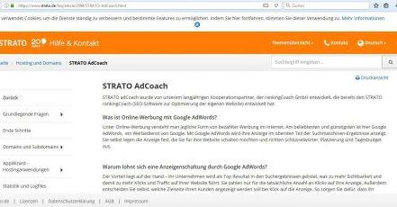"""Screenshot v. 13.09.2017: STRATO nutzt die Bezeichnung """"STRATO AdCoach"""" für ein Marketing Service Tool und wird deshalb von AdCoach (www.adcoach.de) abgemahnt."""