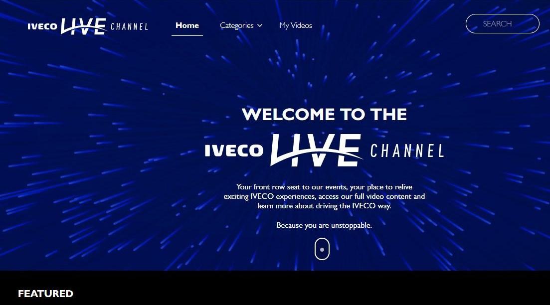 Screenshot: Neu on air – der IVECO LIVE CHANNEL (Link: https://ivecolivechannel.com/#/)