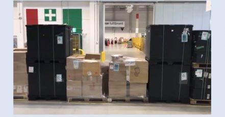 Screenshot: Tag der Logistik (19.04.2018). Führung durch das Amazon-Logistikzentrum Dortmund im Livestream (Quelle: https://www.youtube.com/watch?v=zU-bSAeYUFE)