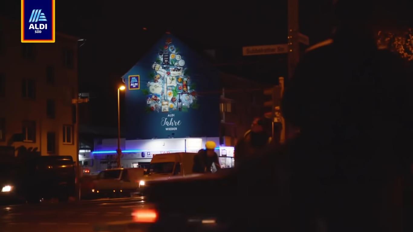 Screenshot Making-of-Video ALDI Weihnachts-Murals 2018 (Quelle: https://blog.aldi-sued.de/aldi-sued-weihnachtskampagne/)