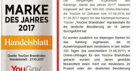 Screenshot: http://campaign.yougov.com/DE_2017_Branindex_Marke_des_Jahres_2017.html?utm_medium=Website&utm_source=article&utm_campaign=DE_2017_10_brandindex_markedesjahres2017 / 30.10.2017