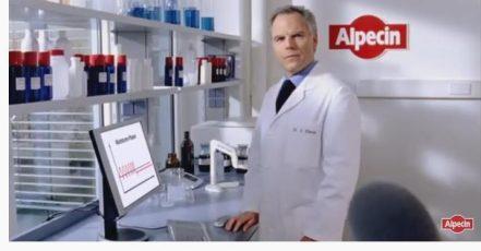 Screenshot: TV Spot Alpecin mit Dr. Klenk (Quelle: https://youtu.be/nejHX8BvHR0)