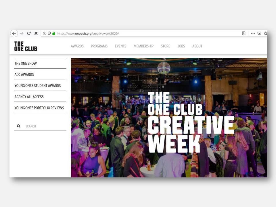 Screenshot: The One Club – Creative Week 2020 (https://www.oneclub.org/creativeweek2020/)