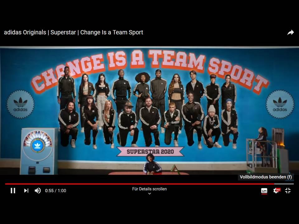 Bild: Screenshot adidas Superstar Kampagne 'Change is a teamsport' Video