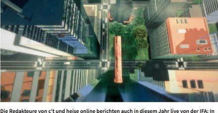 """Nervenkitzel pur: Heise Medien schickt die Besucher der IFA auf die """"VR-Planke"""" Screenshot: heise.de_30.08.2017"""