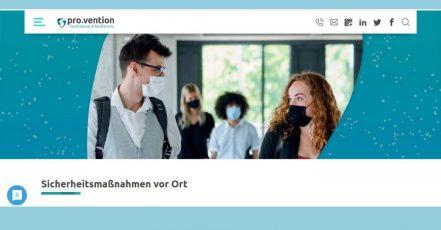 Die Fachmesse pro.vention kann 2020 aufgrund eines strengen Hygiene- und Sicherheitskonzeptes stattfinden (Screenshot: https://www.provention-erfurt.de/ )