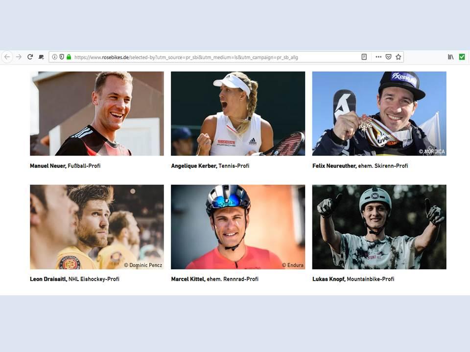 """Bild: Rose Bikes """"Selected by"""" Empfehler-Kampagne (Screenshot v. 19.08.2020)"""