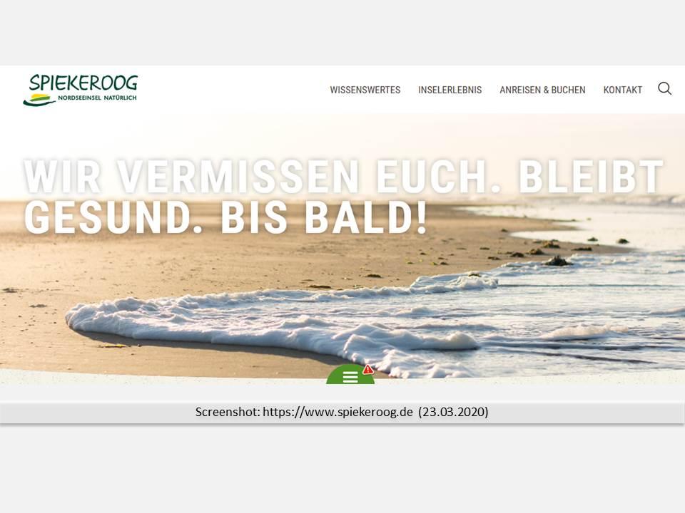 Screenshot: https://www.spiekeroog.de (23.03.2020)